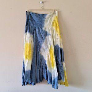 Cute options Blue, Ivory & Yellow Tie Die Skirt